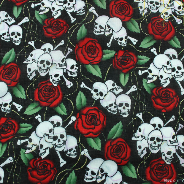 Bandana Face Cover Mask - Rose Skulls & Cross Bones