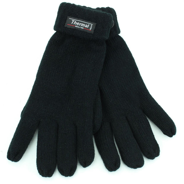 Fold Up Cuffs Thermal Gloves - Black