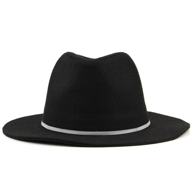 Wool fedora hat with flat brim and skinny contrast band - Black (57cm)