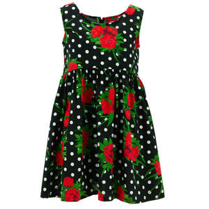 The Shroom Dress - Polka Dot Roses Black