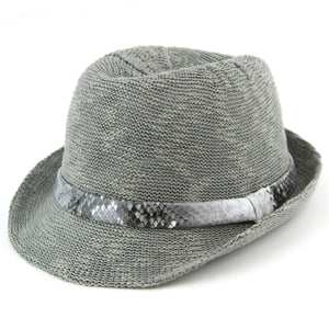 Lightweight trilby hat with faux leather snakeskin band - Dark grey (57cm)