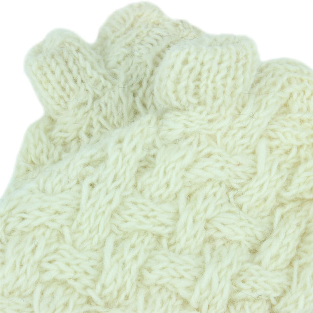 Chunky Wool Knit Arm Warmers - Plain - Off White