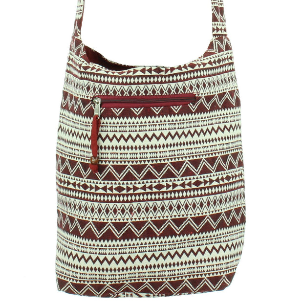 Cotton Canvas Sling Shoulder Bag - Red