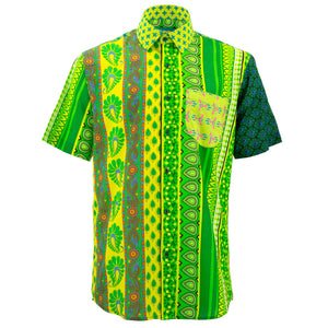 Regular Fit Short Sleeve Shirt - Random Mixed Panel Green