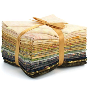 Cotton Batik Pre Cut Fabric Bundles - Fat Quarter - Brown to Beige