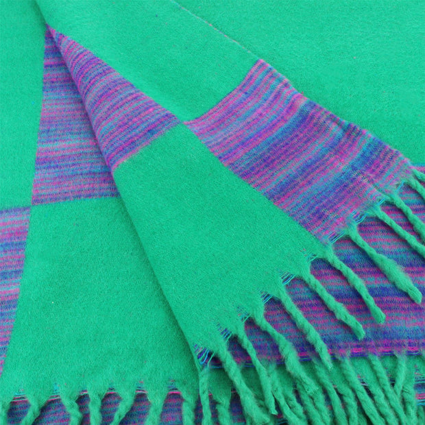 Tibetan Wool Blend Shawl Blanket - Light Green with Purple Reverse