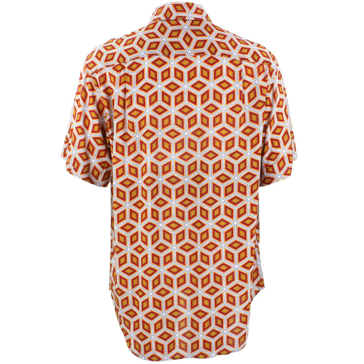 Regular Fit Short Sleeve Shirt - Orange & Red Abstract Diamonds