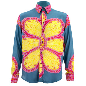 Regular Fit Long Sleeve Shirt - Flower Mandala - Blue