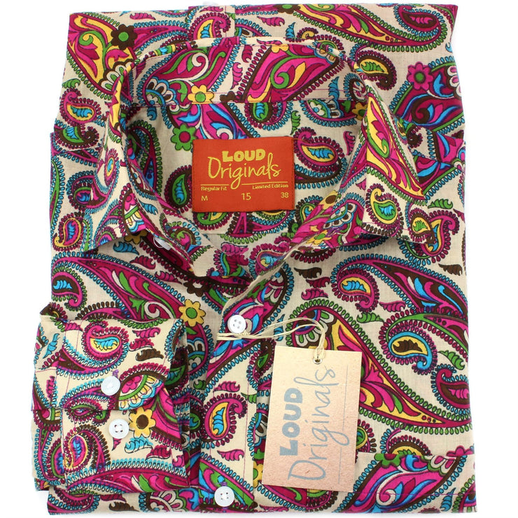 Regular Fit Long Sleeve Shirt - Purple & Yellow Paisley