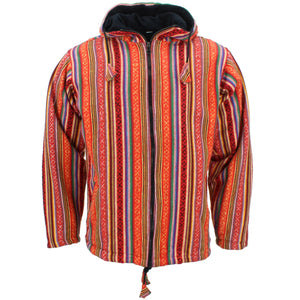 Fleece Lined Brushed Cotton Hooded Jacket Cardigan - Blood Orange