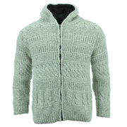Chunky Wool Multi Knit Hoodie - Light Grey