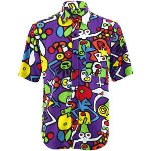 Regular Fit Short Sleeve Rayon Shirt - Tiffy Print - Purple
