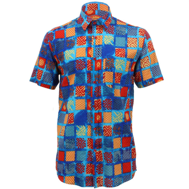 Regular Fit Short Sleeve Shirt - Blue & Multicoloured Square Abstract