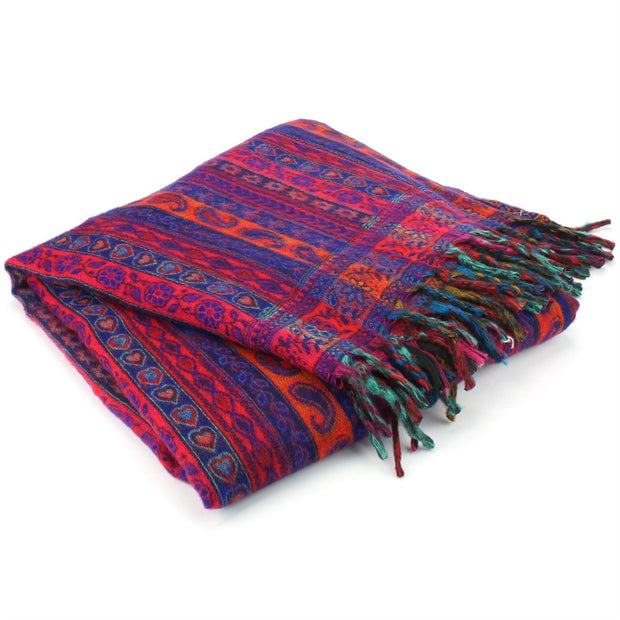 Acrylic Wool Shawl Blanket - Stripe - Bright Red & Blue