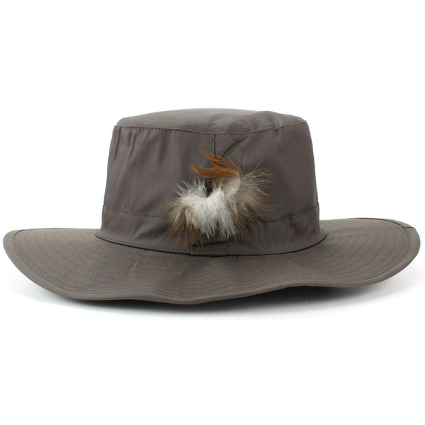 Wide Brim Outback Style Cotton Bush Hat with Feather - Brown
