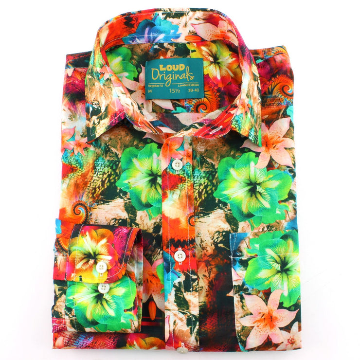 Regular Fit Long Sleeve Shirt - Bright Floral Abstract