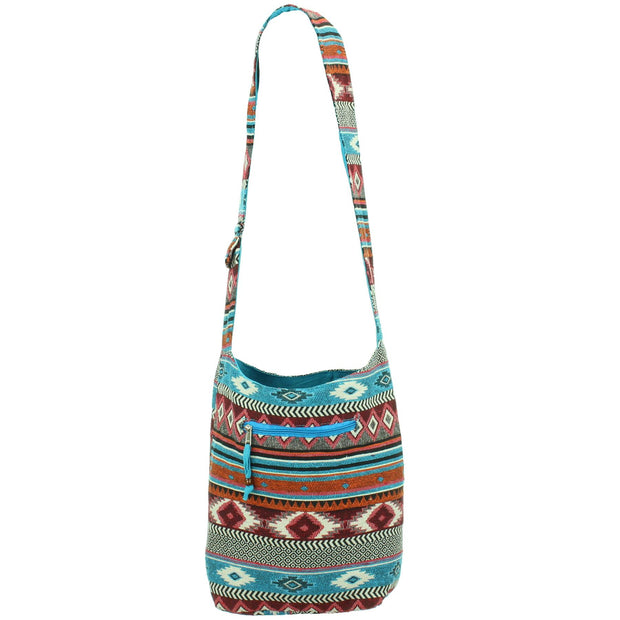 Cotton Canvas Sling Shoulder Bag - Blue Red