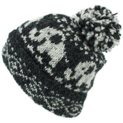 Wool Knit Bobble Beanie Hat - Charcoal Pattern