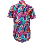 Regular Fit Short Sleeve Shirt - Pink & Purple Glass Beads