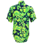 Regular Fit Short Sleeve Shirt - Green Floral on Navy