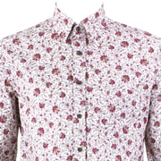 Regular Fit Long Sleeve Shirt - Small Purple Floral on White