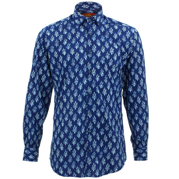 Slim Fit Long Sleeve Shirt - Block Print - Feather