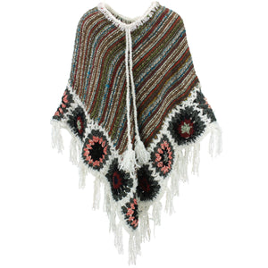 Granny Squares Crochet Poncho Long - Brown Multi/White