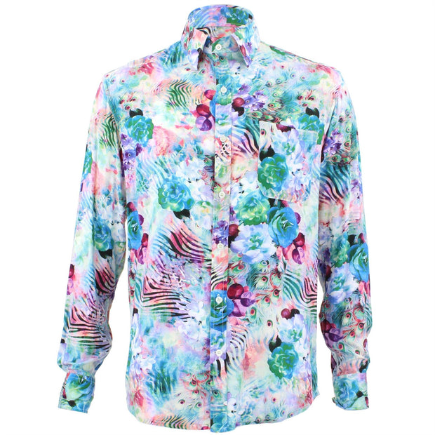 Tailored Fit Long Sleeve Shirt - Psychedelic Zebra Feathers
