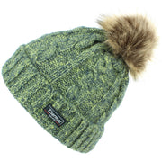 Cable Knit Beanie Hat with Thermal Lining and Faux Fur Bobble - Green
