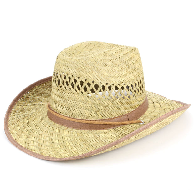 Straw cowboy hat with band and trim - Brown