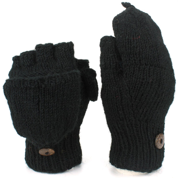 Chunky Wool Knit Fingerless Shooter Gloves - Plain - Black