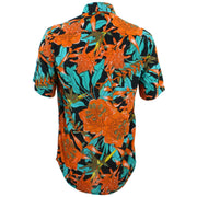 Tailored Fit Short Sleeve Shirt - Orange & Turquoise Floral