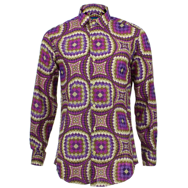 Tailored Fit Long Sleeve Shirt - Purple Illusion
