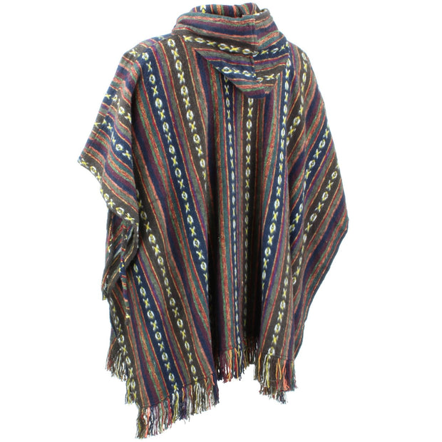 Brushed Cotton Hooded Poncho - Brown