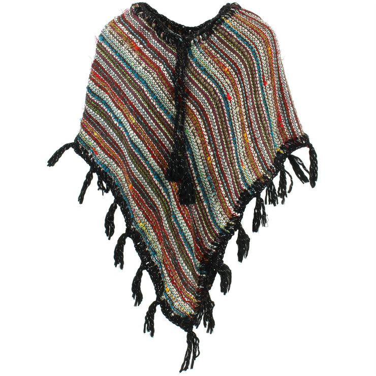 Stripe Crochet Poncho Short - Multi/Black