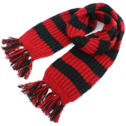Chunky Wool Knit Striped Scarf - Red & Black