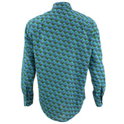Regular Fit Long Sleeve Shirt - Blue & Green Umbrellas