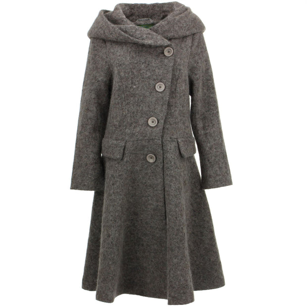 Wool Blend Woven Coat with an Oversized Collar Hood - Brown