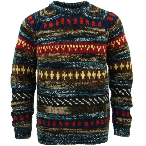 Chunky Wool Knit Abstract Pattern Jumper - Blue & Brown