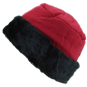 Ladies Jersey Hat with Faux Fur Cuff - Red