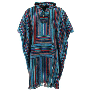 Brushed Cotton Long Hooded Poncho - Purple Sky