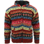 Chunky Wool Knit Abstract Pattern Hooded Cardigan Jacket (Women's Size) - Red