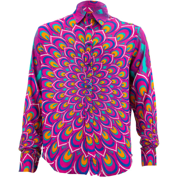 Regular Fit Long Sleeve Shirt - Peacock Mandala - Pink Blue