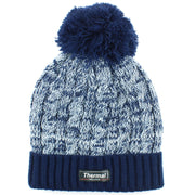 Childrens Thermal Lined Beanie Bobble Hat - Navy