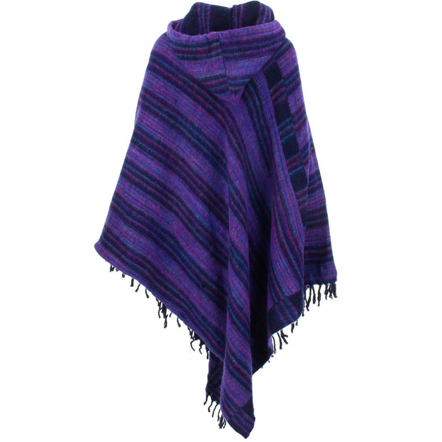 Vegan Wool Hooded Poncho - Purple & Black