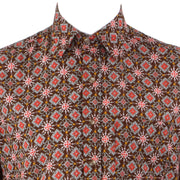Regular Fit Short Sleeve Shirt - Brown Red & Grey Abstract