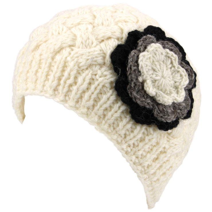Ladies Wool Cable Knit Beanie Hat with Contrast Flower - Off White