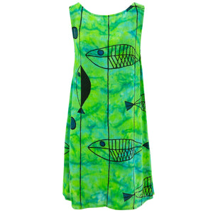 Shift Shaper Dress - Green Fish