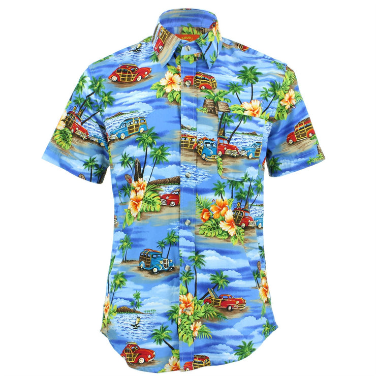 Tailored Fit Short Sleeve Shirt - Blue Sky Beaches & Classic Cars