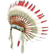 Native Amercian Chief Headdress - Red with Black Spots (Brown Fur)